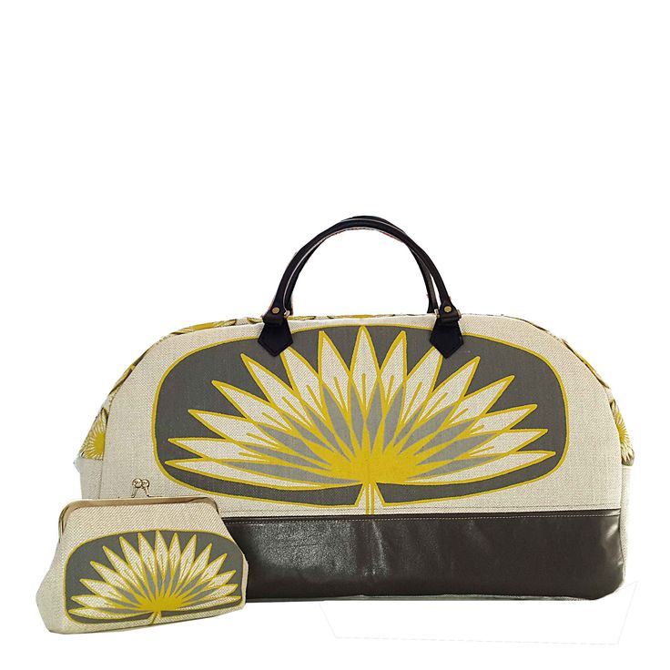 Suzie Qu bespoke weekend bag and Clip purse to match leather bottom and leather straps www.suziequ.co.uk