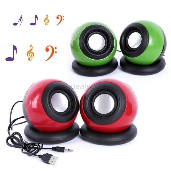 2pcs/Set Wired Ball Shaped USB Computer Speaker Music Player for Desktop Laptops #YRD