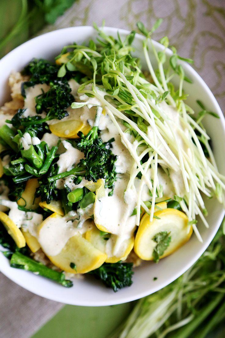 Rice Millet Bowl with Broccolini, Yellow Squash and Garlic Tahini Sauce