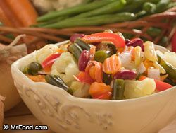 Amish Chow Chow Relish  - don't use frozen things, make this when the garden is about done and just use whatever is available.  So Yummy!!!