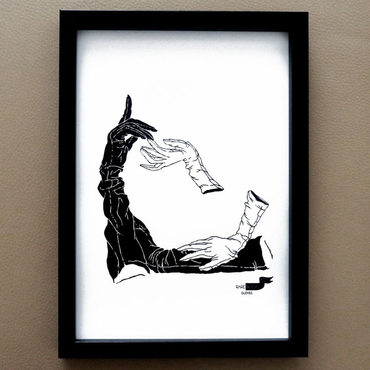 leather gloves - ink sketch X print