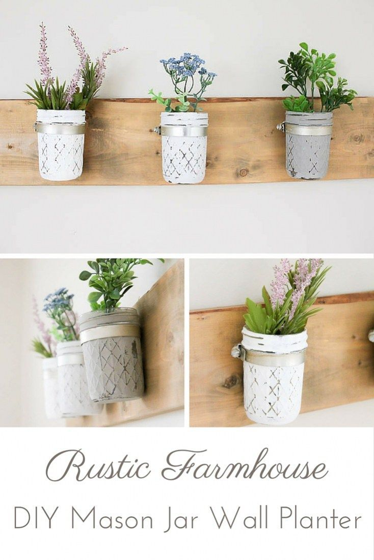 Do It Yourself Home Decorating Ideas: DIY Rustic Farmhouse Mason Jar Planter