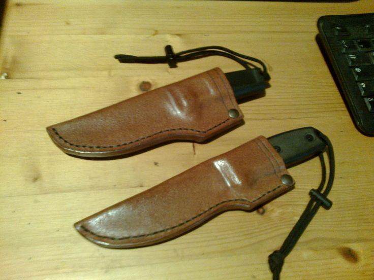 ER Shrapnel and ESEE 4 leather sheaths