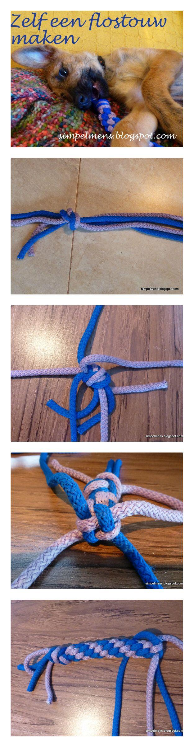 zelf speeltje maken voor de hond met touw - http://simpelmens.blogspot.com.es/2015/02/zelf-speelgoed-maken-voor-je-puppy.html
