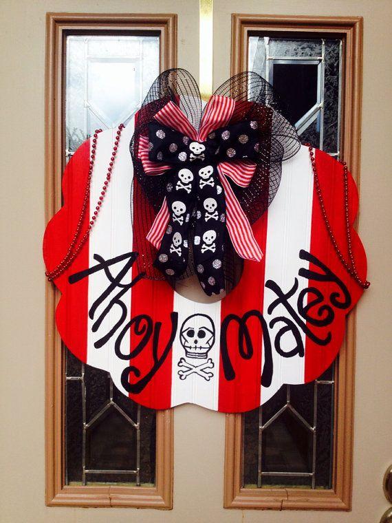 Pirate Party Fun: Gasparilla pirate wreath on Etsy, $65.00