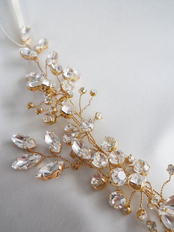Swarovski crystal hair vine Crystal Headband by SabinaKWdesign
