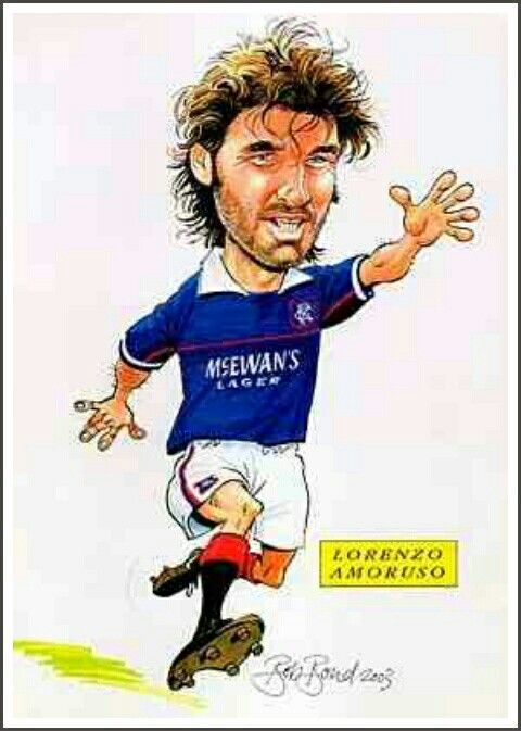 Lorenzo Amoruso of Rangers in cartoon mode.