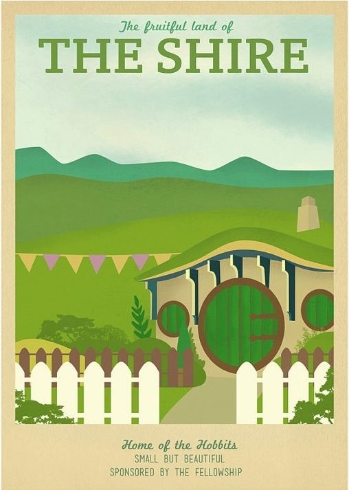 """Retro travel poster design for the Shire in Middle Earth (from """"The Lord of the Rings"""") by Ali Xenos"""