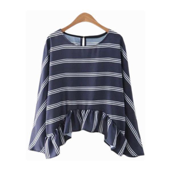 Dark Blue Bell Sleeve Ruffle Hem Stripe Blouse (800 PHP) ❤ liked on Polyvore featuring tops, blouses, dark blue blouse, bell sleeve blouse, striped top, stripe top and striped blouse