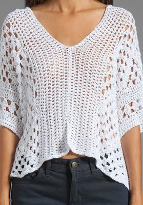Pretty Lacy Crochet top with layout diagram and granny square chart. Not much to…