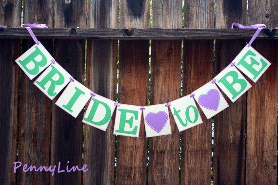 Mardi Gras  Bridal Shower Banner   Green and Purple  by PennyLine, $20.00