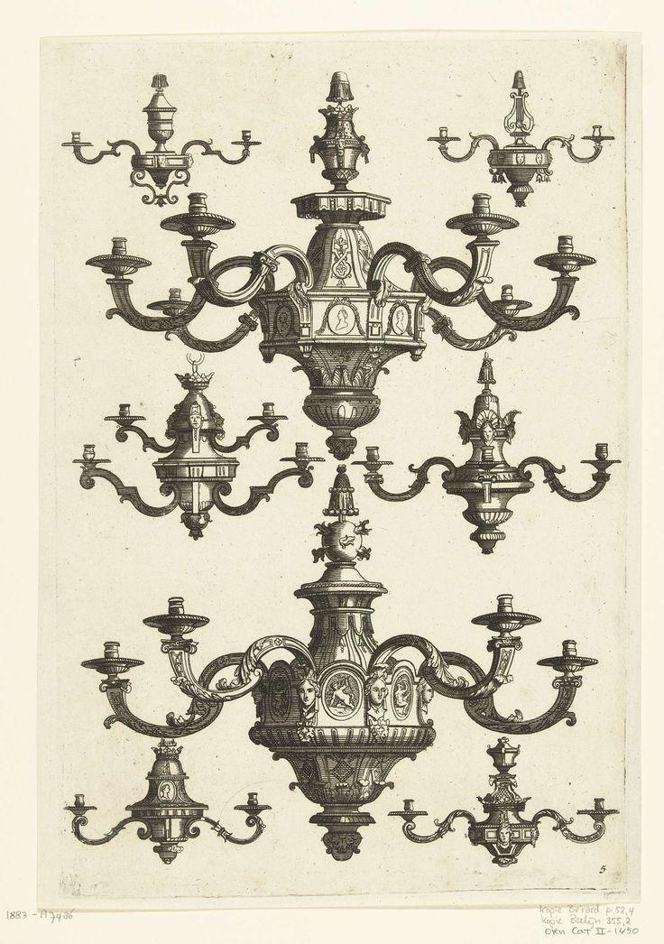 Daniël Marot (I) | Twee grote en zes kleine kroonluchters, Daniël Marot (I), Anonymous, Anonymous, after 1703 - before 1800 |