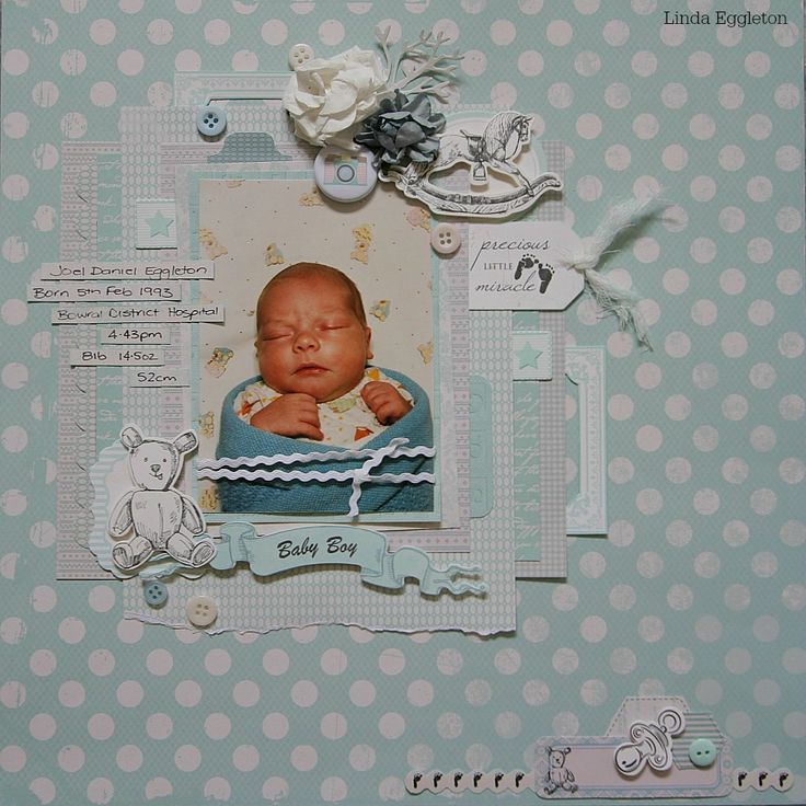 """""""Baby Boy Layout"""" – By Linda Eggleton Kaisercraft products: Little Feet – P1554, Little One – P1548, Precious Gift – P1546, Tiny Bundle – P1551, Boy Collectables – CT799, Paper Pad – PP942, Paper Blooms Iceburg – F630, Paper Blooms Coconut – F627."""