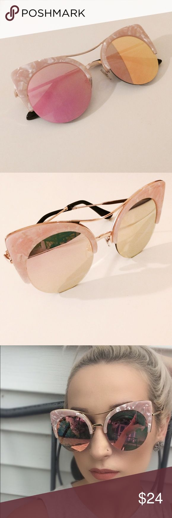 Pink Mirrored Cat Eye Sunglasses NWTR. Brand New in retail packaging. Pink Marbled cat eye sunglasses with mirrored lenses. Nasty Gal listed for exposure. 10% Discount when bundled with 2 or more items! ⚠️No Trades⚠️ Nasty Gal Accessories Sunglasses