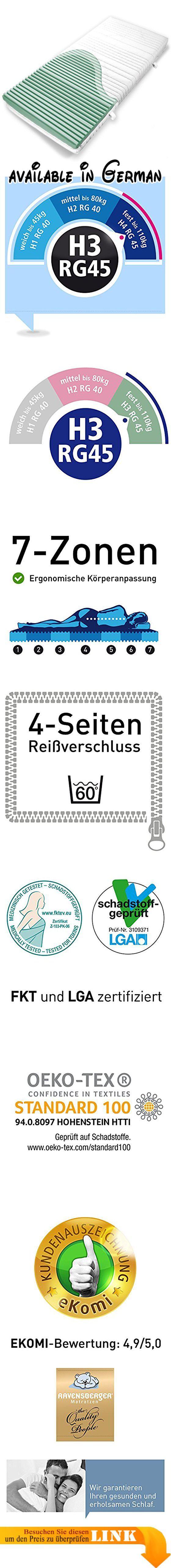 B00912KA2Q : Ravensberger Kaltschaummatratze Softwelle (80 x 190 cm) 7-Zonen Matratze (H3 Raumgewicht RG 40) Medicott-Bezug waschbar LGA und TÜV geprüft. Orthopädische hochelastische Kaltschaummatratze mit 7 Zonen (Höhe 17 cmKernhöhe 14cm). Medicott-Silverguard Bezug (ca. 320g/qm 36% Baumwolle/ 64% Polyester) leicht abnehmbar und bis 60C waschbar. Härtegrad H3 Raumgewicht RG 40. Hoch verträglich: Ideal für Allergiker und Babys geeignet. Herstellergarantie