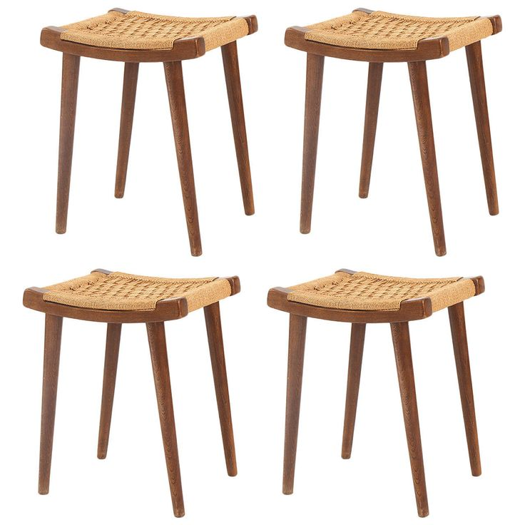 Four Teak And Woven Rope Stools Or Ottomans Teak