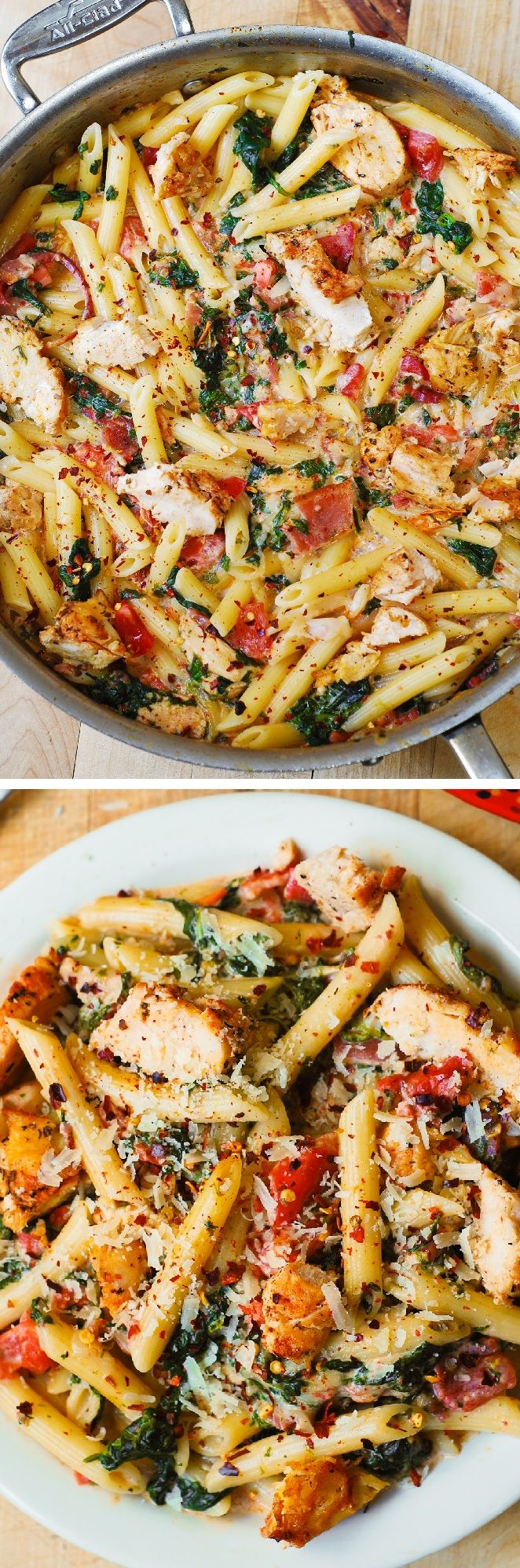 Chicken and Bacon Pasta with Spinach and Tomatoes in Garlic Cream Sauce – delicious creamy sauce perfectly blends together all the flavors: bacon, garlic, spices, tomatoes. (chicken dinner ideas) JuliasAlbum.com #chicken #dinner #recipe
