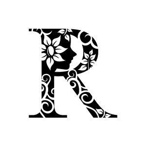 Flower Clipart - Black Alphabet R with White Background | Download Free Flower Clipart, Designs, Gallery, Web Arts, Graphics, Images and Vector