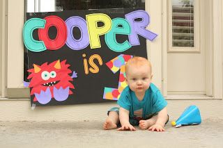 Monster First Birthday sign