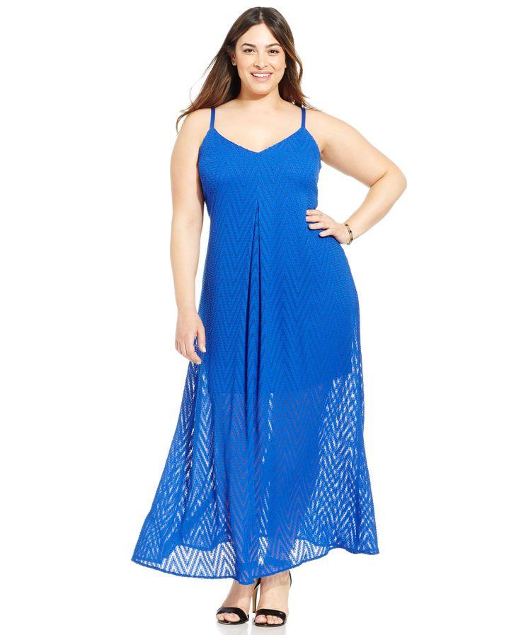 Calvin Klein Plus Size Chevron Maxi Dress