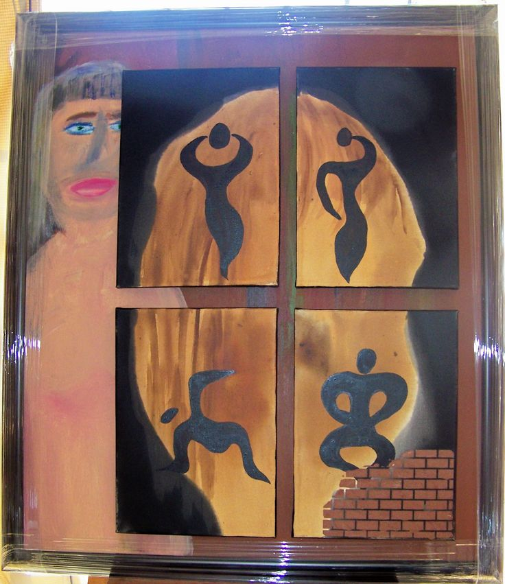 Portrait of a woman. From the background a woman emerges, but only partially as no one is ever fully known by another human being. Her face is more visible than that of the man's as women's looks are important. The silhouette of a head becomes visible over the four smaller canvasses. The floating figures with the rounded curves remind us of how women were/are kept from subjected and abused. The broken wall represents a broken past, but it also shows her life as unfinished.