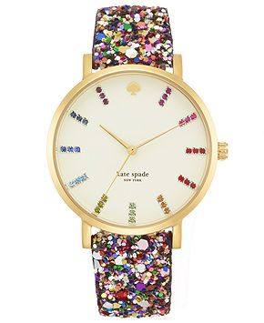 kate spade new york Watch, Women's Metro Grand Multi-Color Glitter Leather Strap 38mm 1YRU0297A - Watches - Jewelry & Watches - Macy's