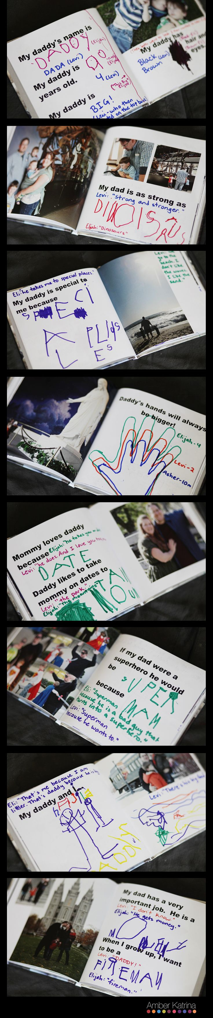 father's day photo album book for kids to fill-in answers about their dad