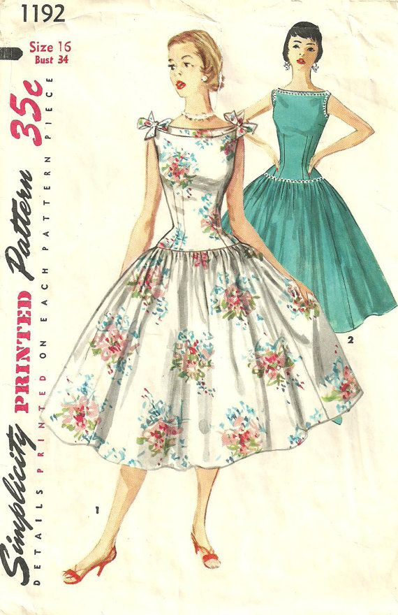 not convinced about the drop waist, but the neckline is FAB!!    Simplicity 1192 Vintage 50s Sewing Pattern by studioGpatterns, $20.50
