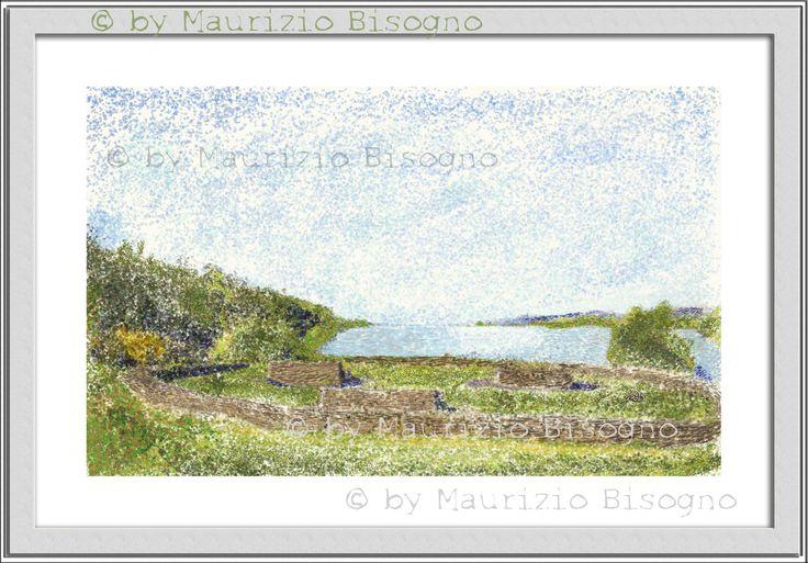 Pointillist Image Of an Irish Bay.