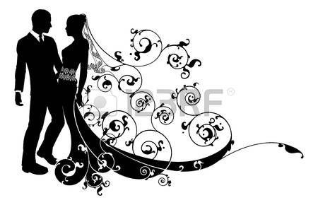 Una ilustración de una novia y el novio novios en silueta con hermoso vestido de novia y el patrón floral abstracto. Podría tener su primer baile. Foto de archivo - 20911168