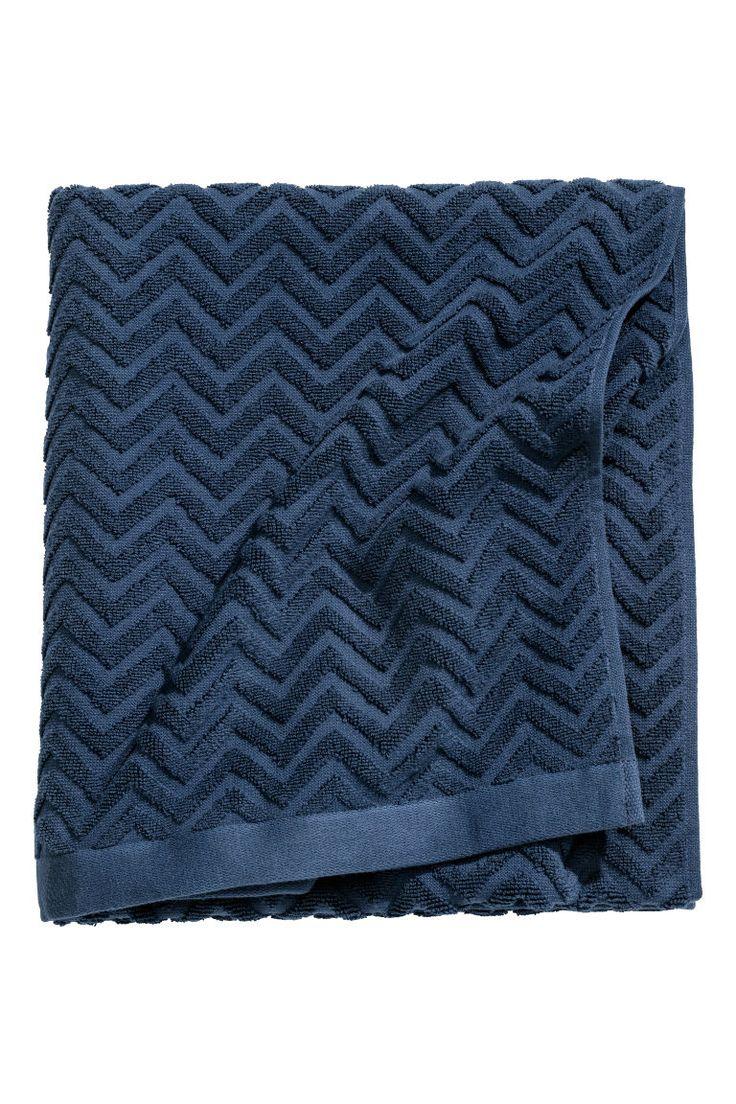Jacquard-patterned bath towel - Dark blue - Home All | H&M CA 1