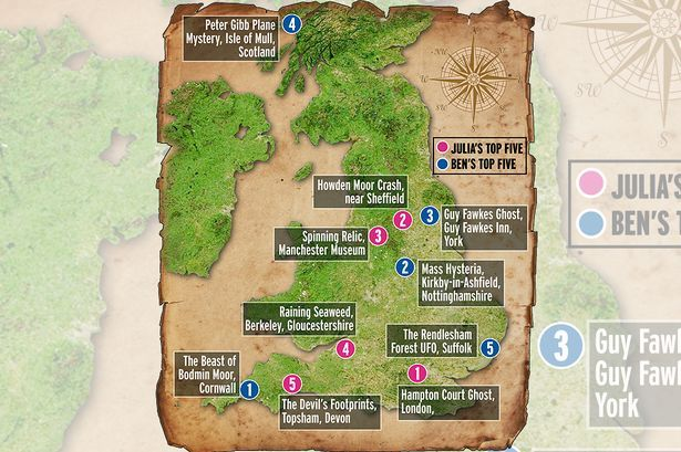 Mystery Map: Top 10 British mysteries, spectres, unexplained deaths and alien encounters picked by Ben Shephard and Julia Bradbury - Mirror Online