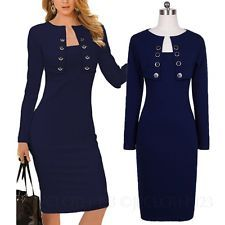 High quality Womens Pencil Dresses Ladies Corporate Office Stretchy Dress Size