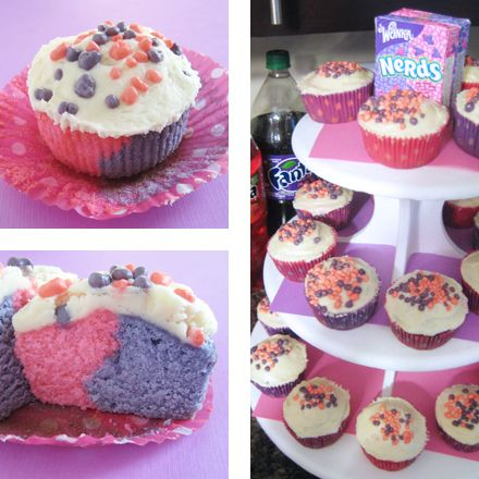 Nerds Cupcakes  (I don't know what worries me more. The fact that I totally want to make these cupcakes because they look like a box of nerds, or the fact that random internet strangers are throwing retro parties commemorating the 90's which makes me feel old.)