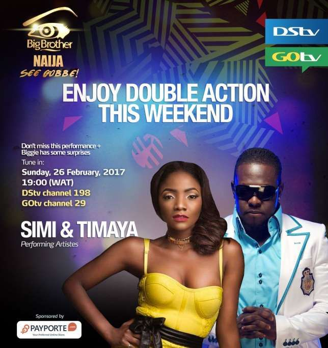 """Big Brother Naija! Simi And Timaya Are to perform At The Big Brother Naija Eviction Show This Weekend     Nigerian singers Simi and Timaya will take over the Big Brother Naija stage during the Live Eviction Show on Sunday February 26 2017.  Born Inetimi Alfred Odon Timaya started his career in 2005 and is popular for some of his works including 'Plantain' Bum Bum"""" 'Sexy Ladies' among others.  Born Simisola Bolatito Ogunleye Simi started her career as a gospel singer releasing her debutstudio…"""
