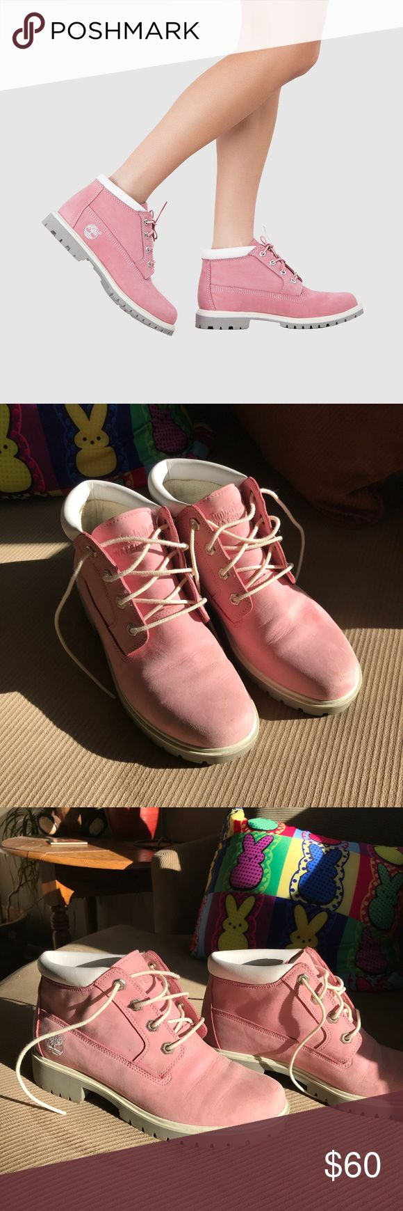 🔥Black Friday Sale🔥 Timberland Pink Nellie Boots Super cute Nellie Waterproof Chukka Timberland boots in pink nubuck. Slightly worn with a couple scuffs on the toe and a small tear on the right tongue seam – otherwise in great condition!  Feel free to message me with any questions 😊 Timberland Shoes Ankle Boots & Booties