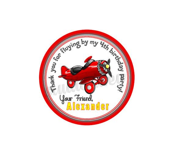 Custom Stickers Airplane Birthday 2.5 STICKERS-Red by StudioIdea