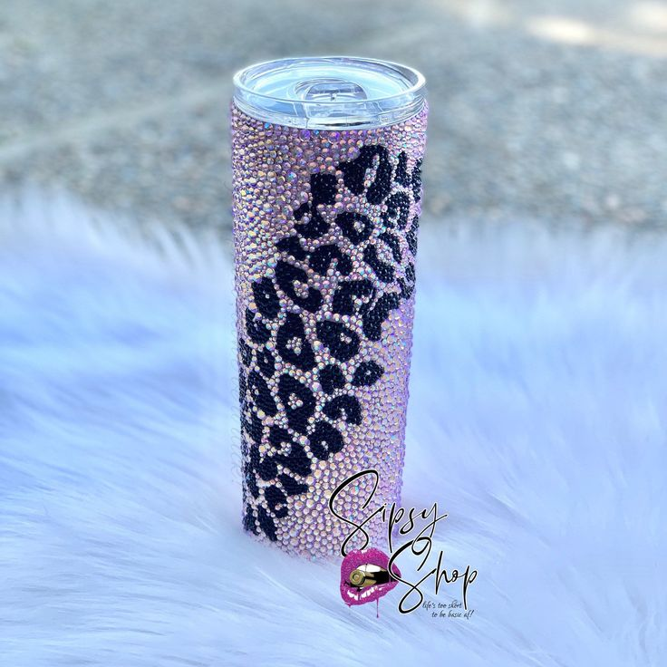 Leopard Print Rhinestone Tumbler Bling Cup Custom