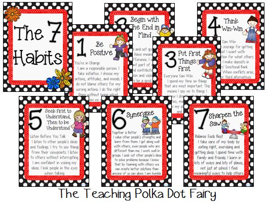 7 Habits of Happy Kids These posters reflect the 7 habits from the leader in me. These posters are in a kids language and help relate to their everyday experiences. http://www.teacherspayteachers.com/Product/The-7-Habits-of-Happy-Kids-875123