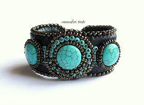 Türkiz-bronz gyöngyhímzett karperec / Bead embroiderd cuff with turquoise | moonsafari beads - egyedi ékszerek