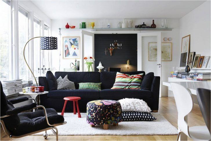 Living Room. Wonderful Contemporary Design Black Sofa Chair Furnished White…