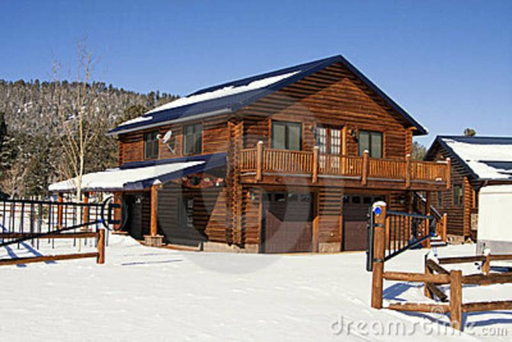 Log Cabin In The Woods | New modern log cabin home in the snowy woods of the White Mountains in ...