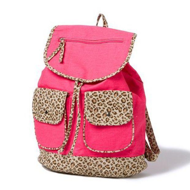 Neon Leopard Print Trim Backpack