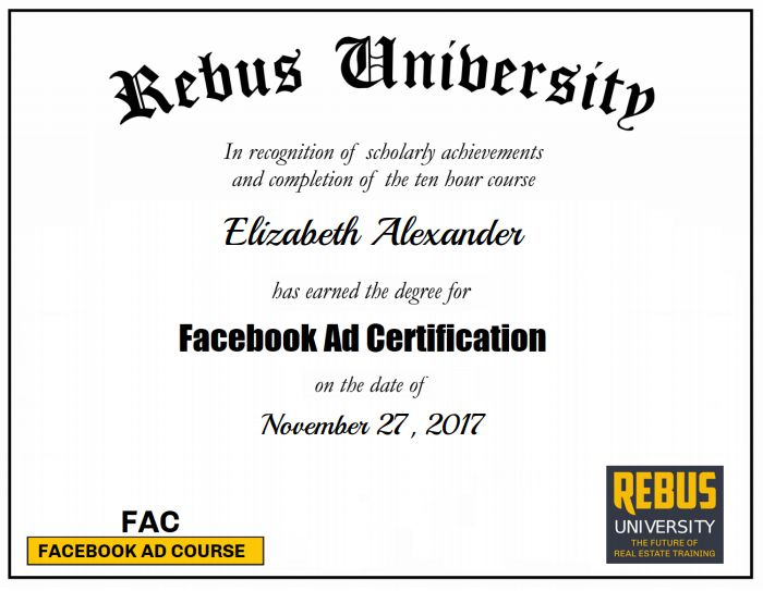 Congratulations to Elizabeth Alexander for completing Certified Facebook Ad Certification Course! You rock!🤘