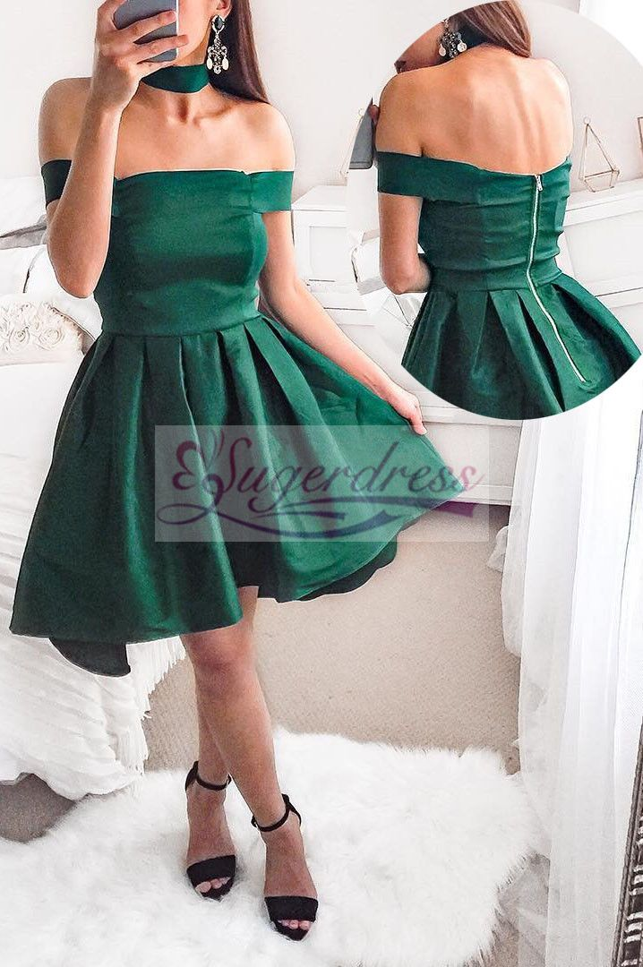 882b1c6d700 Cute Off the Shoulder Short Emerald Green Party Dress in 2019 ...