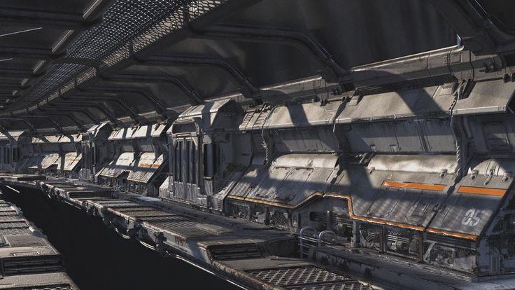 3d corridor, sci fi, the station, Luke Wilkins on ArtStation at https://www.artstation.com/artwork/8Pvkm