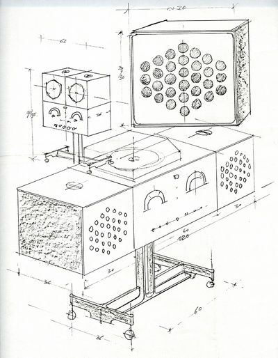 RR126    Radiofonografo stereofonico    1965 Progetto: Achille e Pier Giacomo Castiglioni    1965, riedizione 2008 Produzione: Brionvega, Brionvega/Sim2