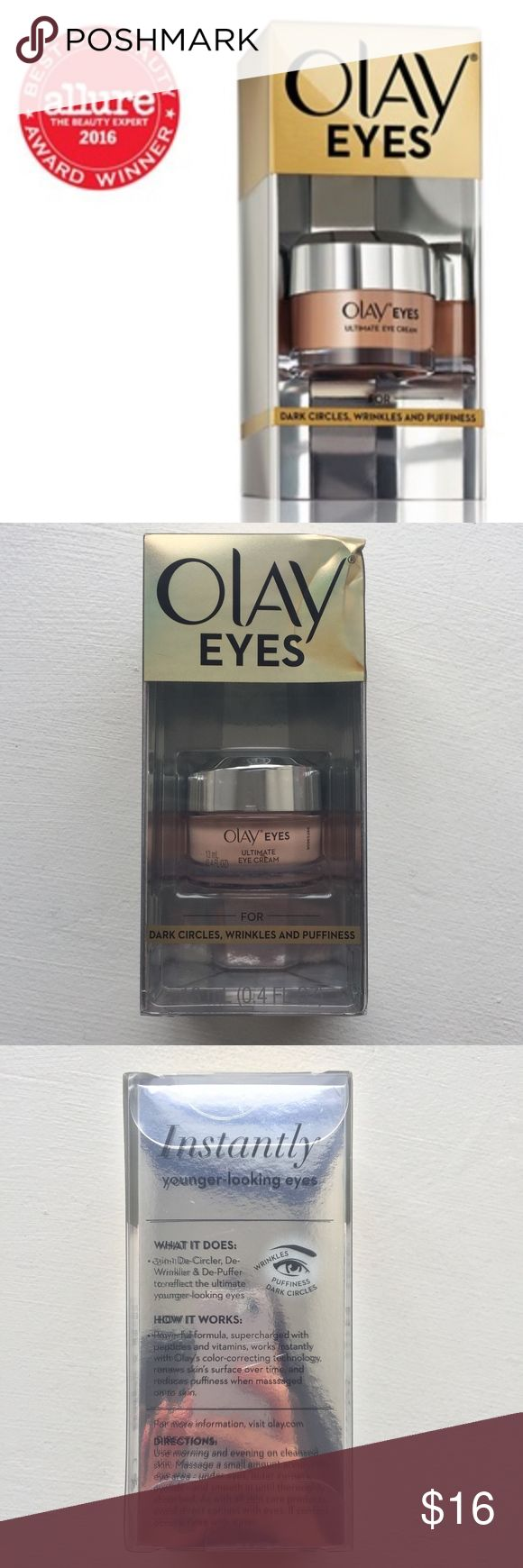 NEW - Olay Ultimate Eye Cream - 18ml0.4 fl oz NEW - Olay Ultimate Eye Cream - 18ml0.4 fl oz  - Ultimate Eye Cream fights wrinkles, puffy eyes, and dark circles in an instant - Get the instant results of the #1 Prestige Eye Cream without paying 2x as much – for dark circles and wrinkles - 3-in-1 Decircler, DeWrinkler and DePuffer instantly reduces the appearance of fine lines and wrinkles - Contains Olays color-correcting technology that acts as a touch of concealer - Powerful formula…