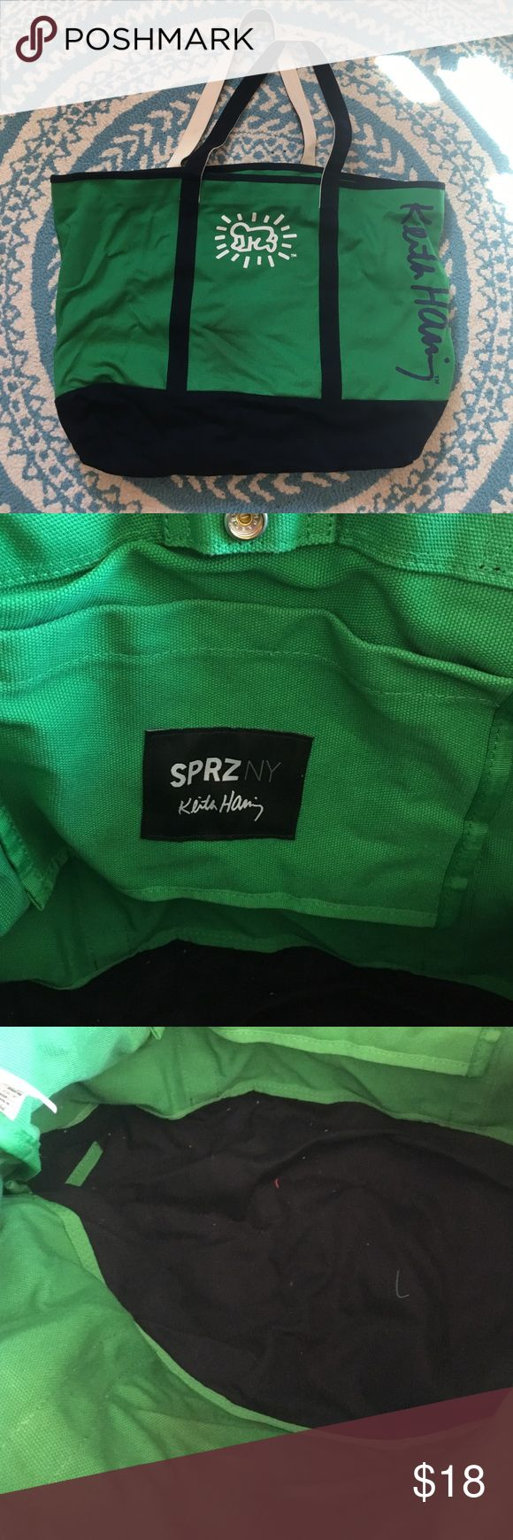 "SPRZNY for UNIQLO Keith Haring Tote Cute green and navy Tote from UNIQLO. Only used once or twice. Snap closure, inside pocket, app 20x14"". Straps app 22"" Uniqlo Bags"