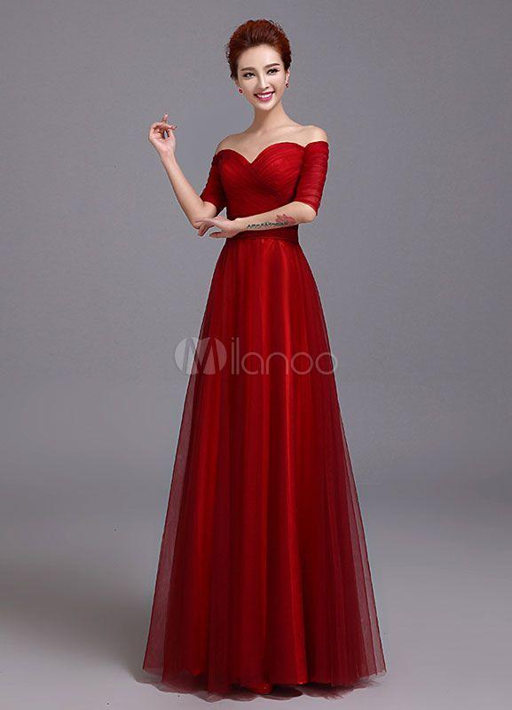 Vestido de noche 2018 de tul de la madre del amor de hombro de la novia  vestido de Borgoña Ruched medio vestido de boda de la manga vestidos con  marco ... 17543a682508
